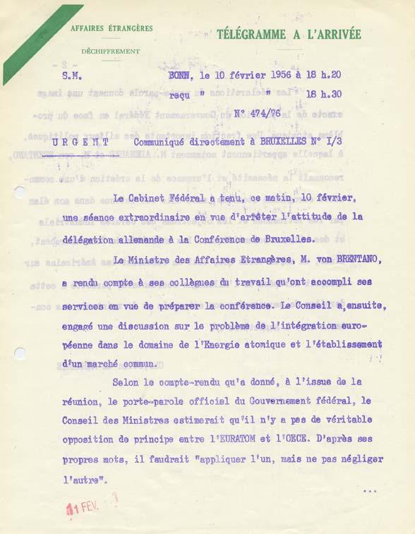 Attitude probable du gouvernement fédéral à la conférence de Bruxelles en ce qui concerne le Marché commun et l'EURATOM. Bonn, 10 février 1956.