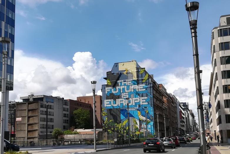 Tag dans le quartier européen à Bruxelles. 61 % des Européens se sont déclarés confiants dans le futur de l'Europe