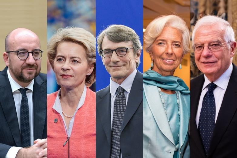 Charles Michel, Ursula von der Leyen, David Sassoli, Christine Lagarde et Josep Borrell