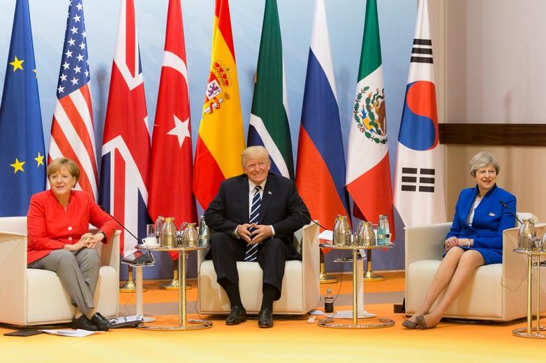 Angela Merkel, Donald Trump et Theresa May le 7 juillet 2017 lors du sommet du G20