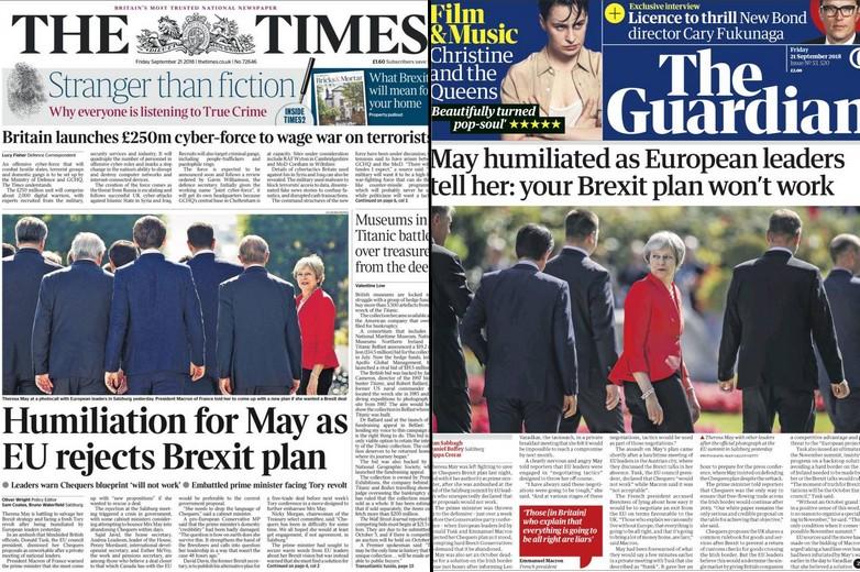 Les Unes du Times et de The Guardian du 21 septembre 2018 - crédits : Kiosko