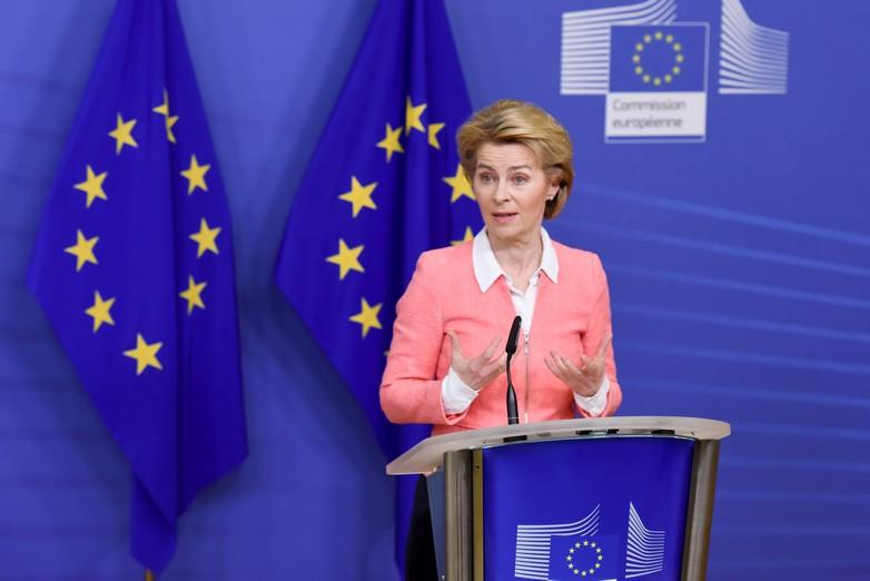Ursula von der Leyen lors de la conférence de presse du mercredi 4 mars 2020 à Bruxelles.