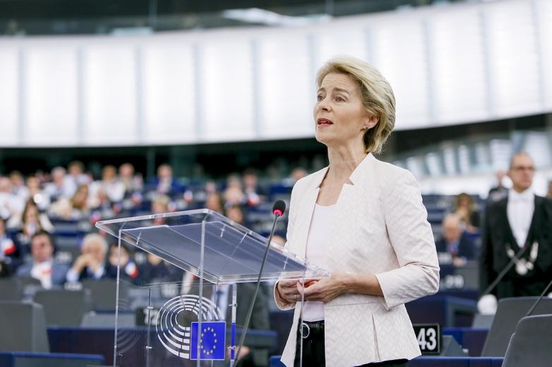 Ursula von der Leyen devant le Parlement européen, le jour du vote (16 juillet)