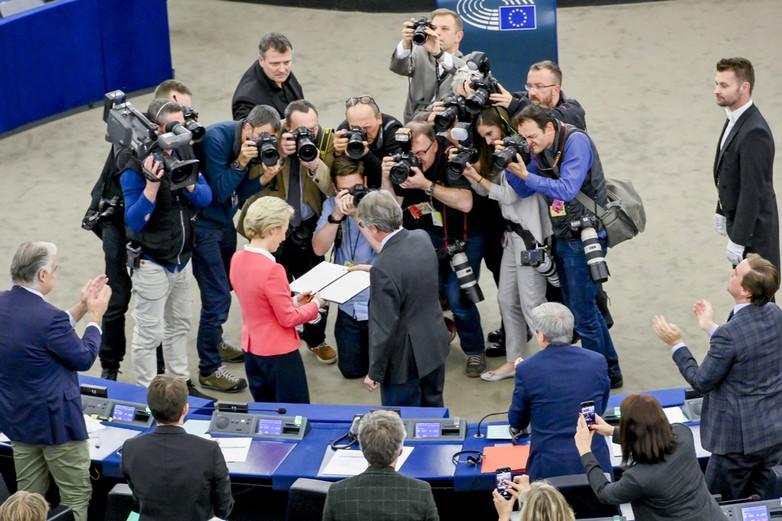 Ursula von der Leyen et David Sassoli, le 27 novembre - Crédits : Marc Dossman / Parlement européen 2019