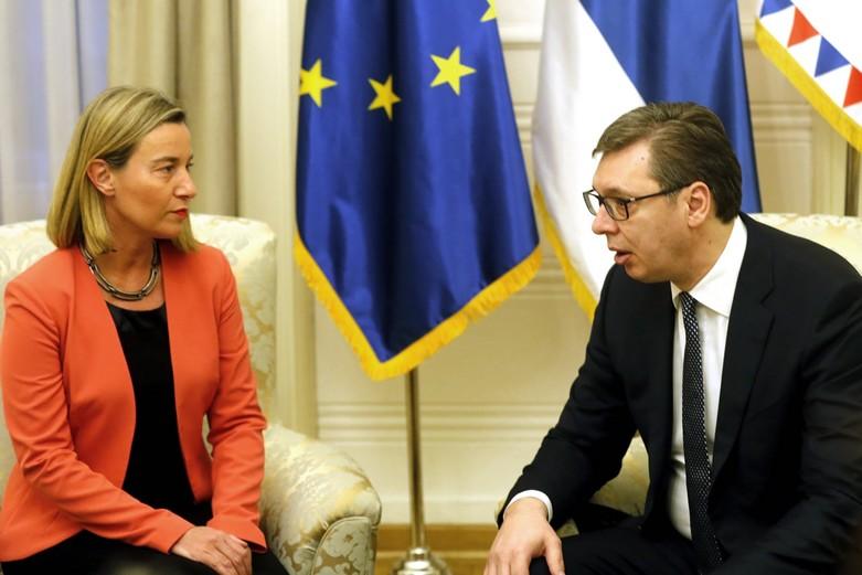 Federica Mogherini et Aleksandar Vučić, en mars 2018 en Serbie - Crédits : Oliver Bunic / Union européenne