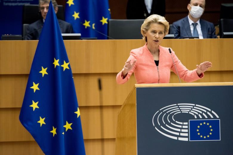 La présidente de la Commission européenne, Ursula von der Leyen, lors du discours sur l'état de l'Union le 16 septembre 2020.