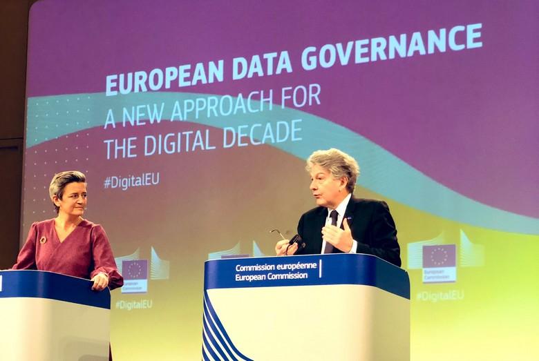 Les commissaires au Numérique, Thierry Breton, et à la Concurrence, Margrethe Vestager, présentent ce mardi 15 décembre deux projets de règlements sur les services et les marchés numériques