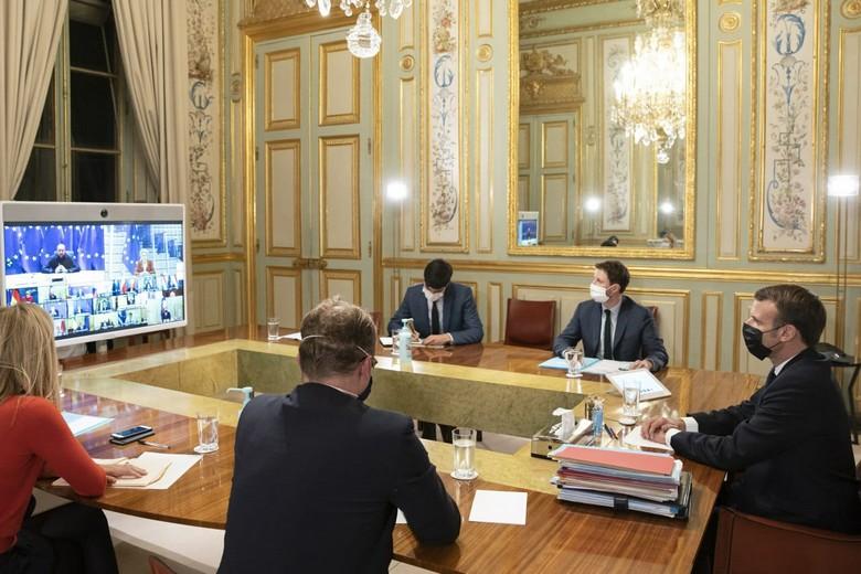 Comme Emmanuel Macron, l'ensemble des chefs d'Etat et de gouvernement ont participé à ce sommet européen en visioconférence