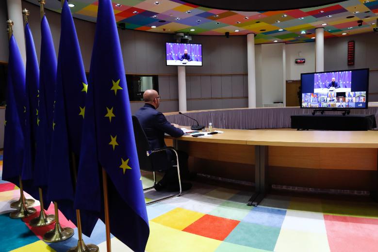 Le président du Conseil européen Charles Michel doit coordonner les discussions entre les vingt-sept dirigeants européens pour permettre l'adoption du plan de relance et du budget pluriannuel