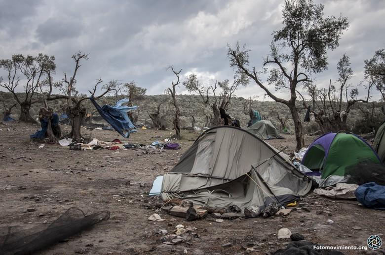 Plus grand camp de réfugiés d'Europe, le camp de Moria, sur l'île de Lesbos, en Grèce, a complètement brûlé dans la nuit du 8 au 9 septembre. Ici, le camp lors de son établissement en 2015