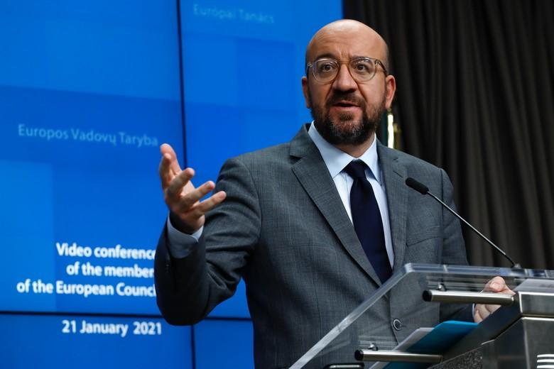 Le président du Conseil Charles Michel présente les conclusions du sommet portant sur la stratégie européenne de lutte contre le coronavirus, le 21 janvier - Crédits : Conseil européen