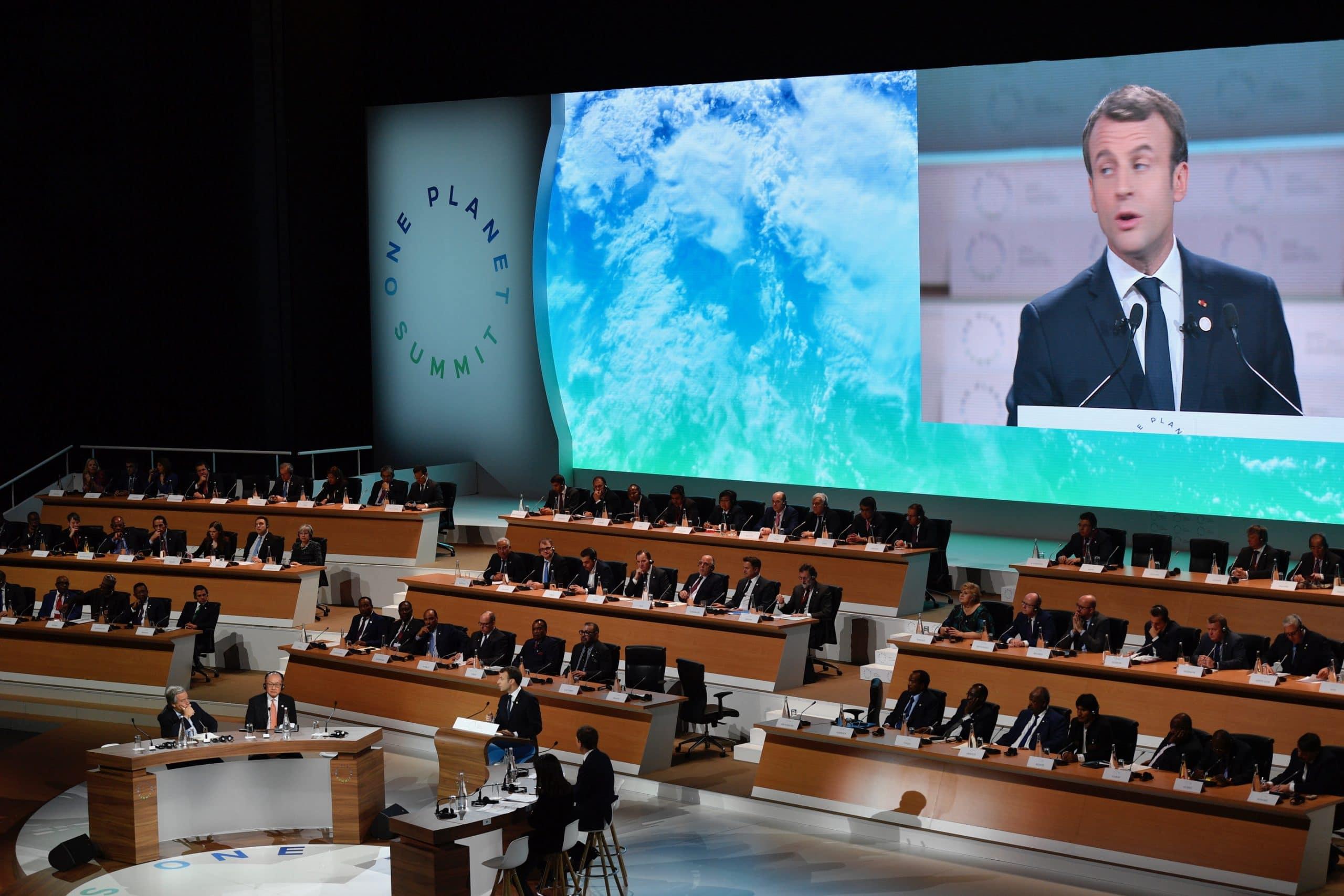 La première édition du One Planet Summit (ci-dessus) s'est tenue à Paris en 2017, à l'initiative d'Emmanuel Macron
