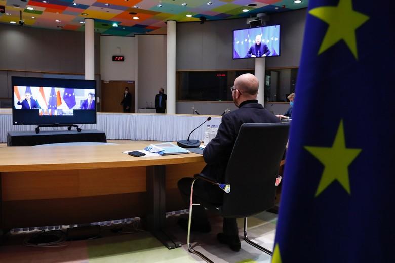 Charles Michel, le président du Conseil européen, s'entretiendra de nouveau par visioconférence avec les chefs d'Etat et de gouvernement des Vingt-Sept au cours du sommet organisé les 25 et 26 mars