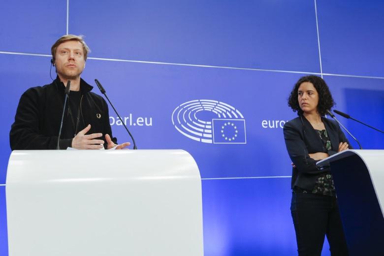 L'allemand Martin Schirdewan et la française Manon Aubry, co-présidents du groupe GUE/NGL