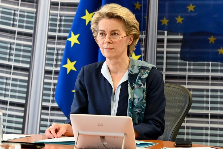 Ursula von der Leyen participe à un Conseil européen le 26 février 2021 - Crédits : Etienne Ansotte / Commission europénne