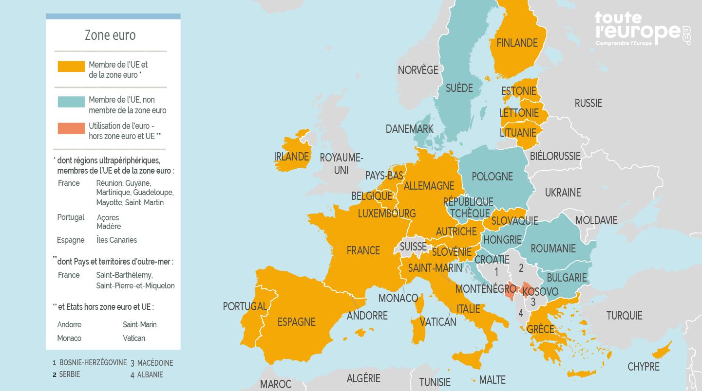 Carte géographique zone euro