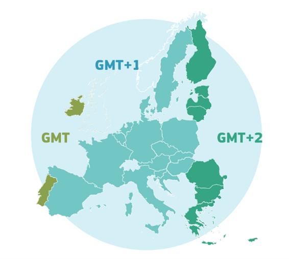 Répartition des Etats membres de l'UE selon les fuseaux horaires