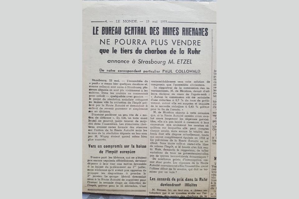 Article dans le journal Le Monde en 1955
