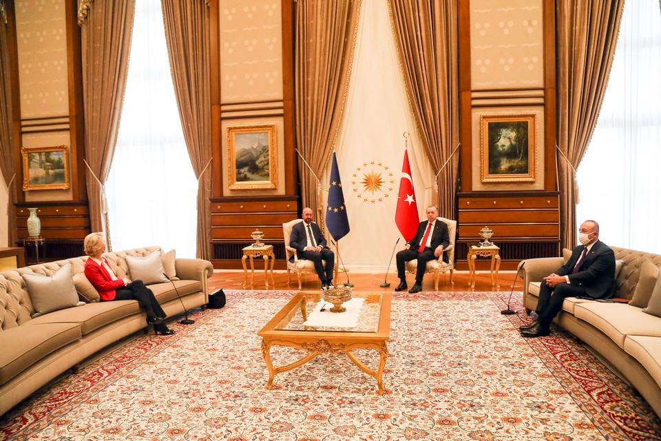Les présidents du Conseil européen et de la Commission européenne ont rencontré le chef de l'État turc mardi 6 avril pour renouer le dialogue après plusieurs mois de tensions - Crédits : Necati Savas - Commission européenne