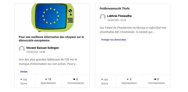 Exemples de propositions - Capture d'écran du site futureu.europa.eu