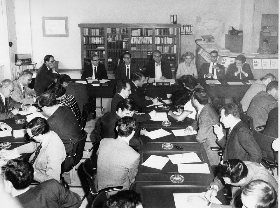 Première salle de presse de la Commission européenne en 1960