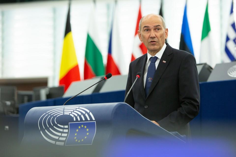 Mardi 6 juillet, Janez Janša a présenté aux eurodéputés les priorités de la présidence slovène du Conseil de l'UE - Crédits : Parlement européen