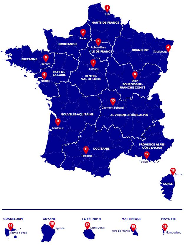 Répartition des consulations régionales